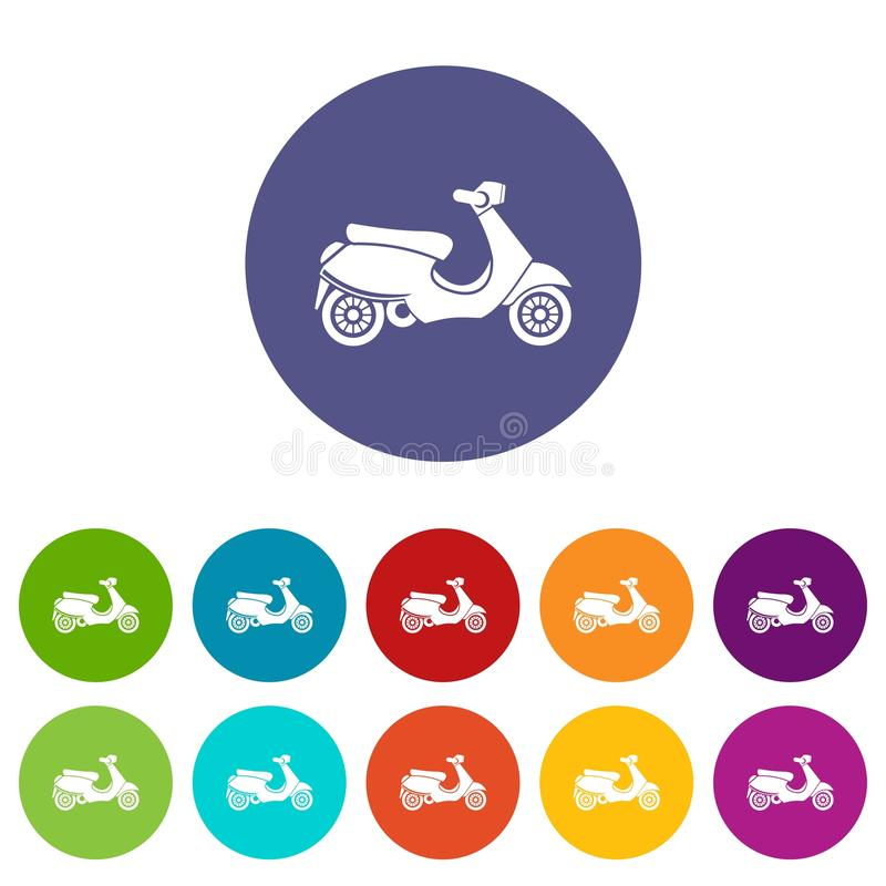 Vespa scooter set icons vector illustration
