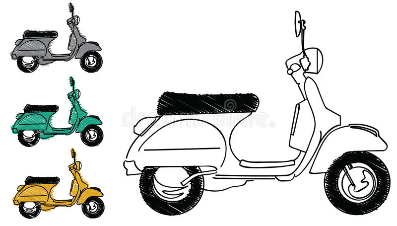 Vespa scooter vector. Illustrations of the italian retro scooter + vector eps file stock illustration