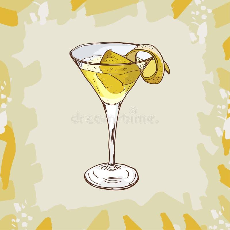 Vesper koktajlu ilustracja Alkoholiczna ręka rysujący klasyka baru napoju wektor Wystrzał sztuka ilustracji