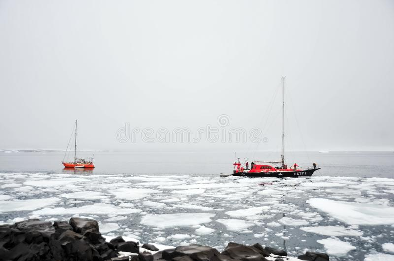 Vessel of the Arctic expedition in the waters of the Arctic Ocean stock images