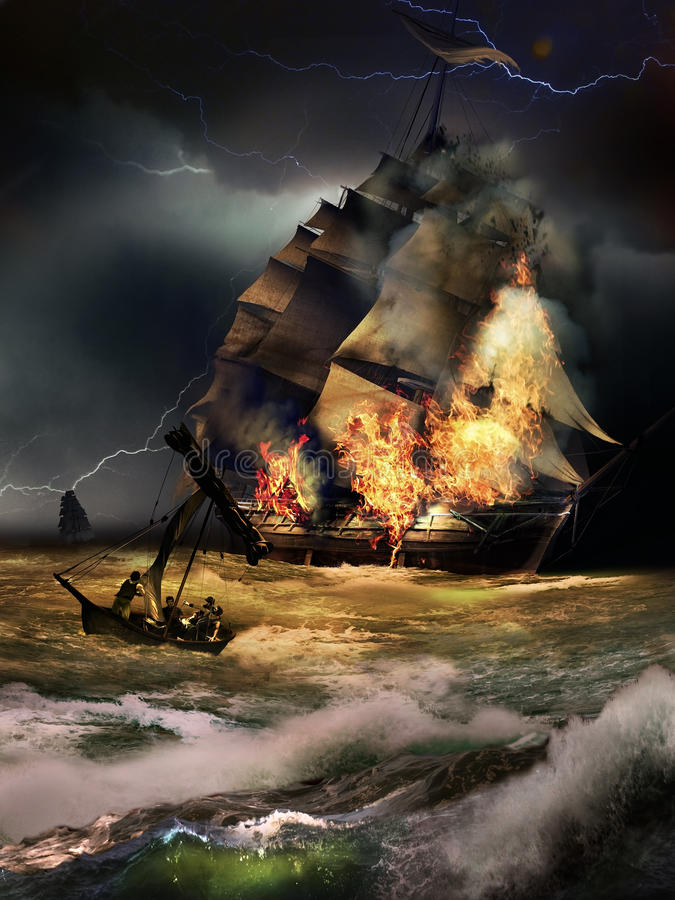 Vessel on fire. Sailboat on fire, probably after the attack of another vessel that we see going away. Survivors are leaving the place in a little boat vector illustration