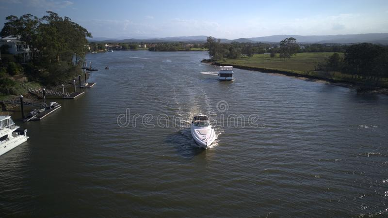On Vessel luxury yachts and boats hope island coomera river royalty free stock photo