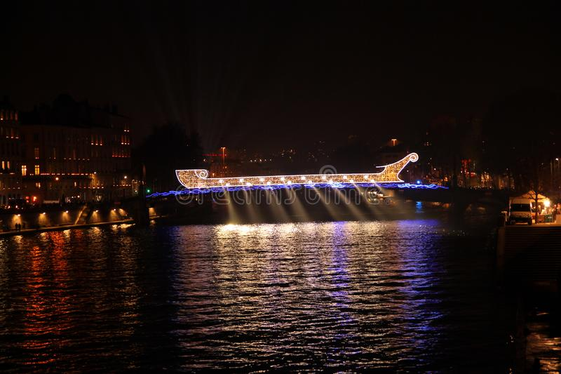 The vessel made with lights over the river stock photos