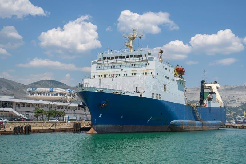 Vessel moorage on the berth. Novorossiysk, Russia - July 9: Vessel moorage on the berth in port of Novorossiysk on July 9, 2018 in Novorossiysk, Russia stock photography