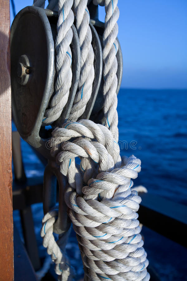 Vessel part with rope. On sailing boat stock photo