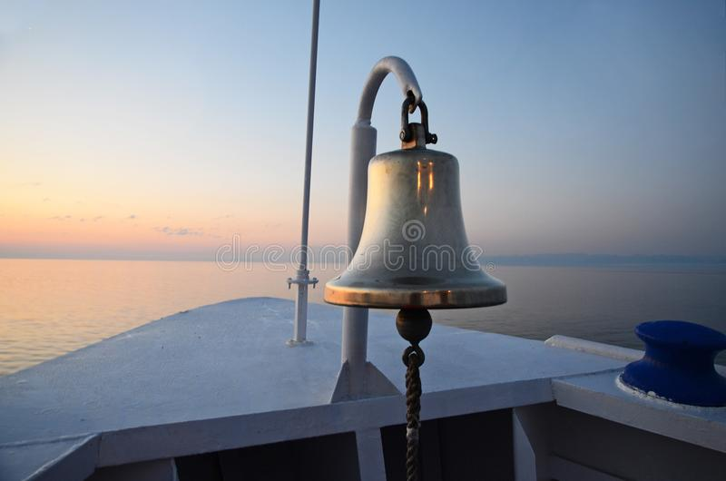 Vessel Stern Bell Early Morning Lake Baikal. View from ship stock photos