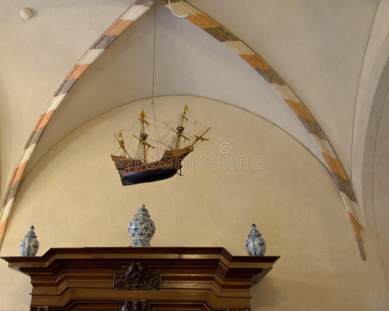 Vessel and three tureens in one of chambers in Malbork castle. Photo shows vessel and three tureens in one of chambers located in the biggest gothic castle in stock image