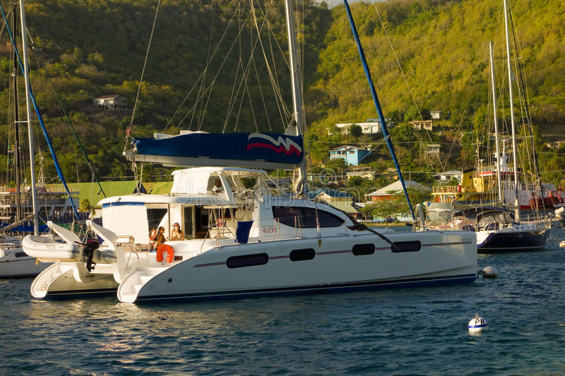 Vessels moored at port elizabeth, bequia royalty free stock photos