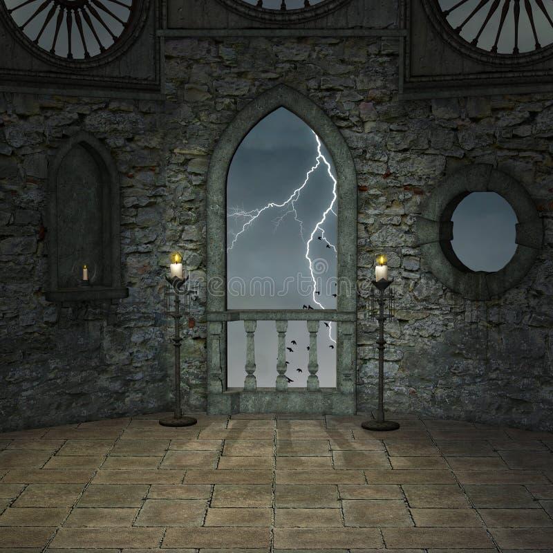 Vestíbulo del castillo en una noche tempestuosa ilustración del vector