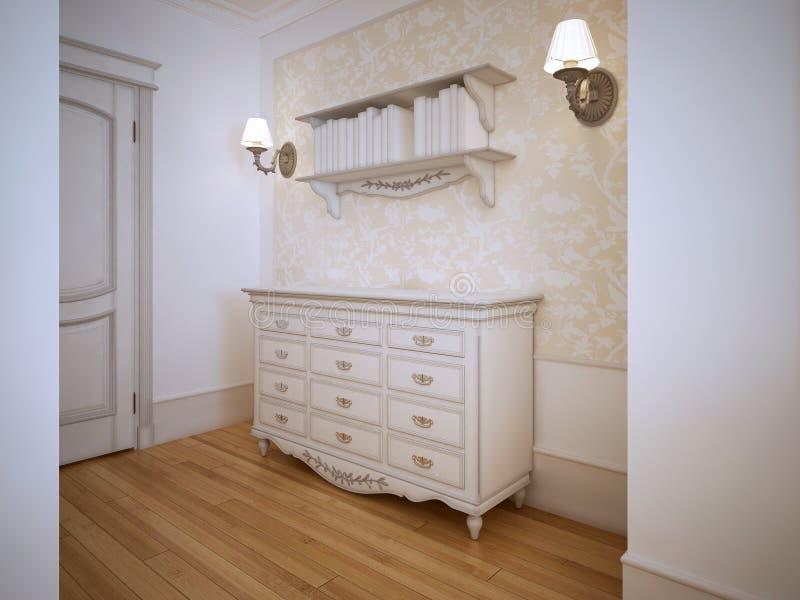Vestíbulo clásico con la puerta de armario stock de ilustración