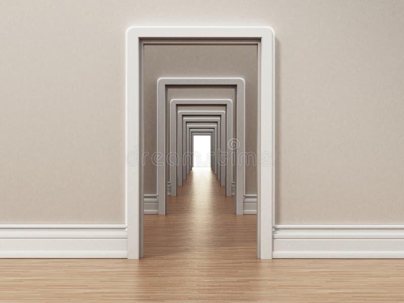 Vestíbulo con muchas puertas que se abren el uno al otro ilustración 3D ilustración del vector