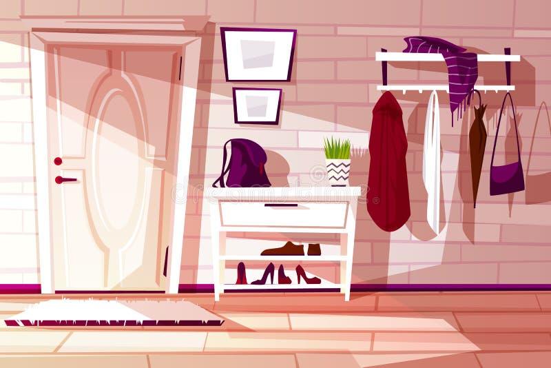 Vestíbulo de la historieta del vector con muebles Fondo interior ilustración del vector