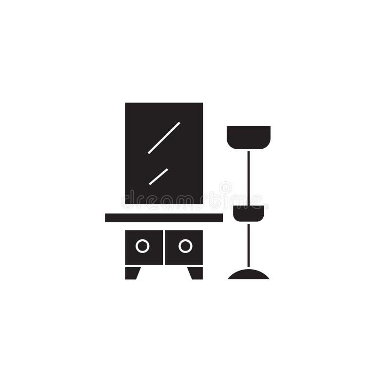 Vestíbulo, estante de la ropa con un icono del concepto del vector del negro del espejo Vestíbulo, estante de la ropa con un ejem stock de ilustración