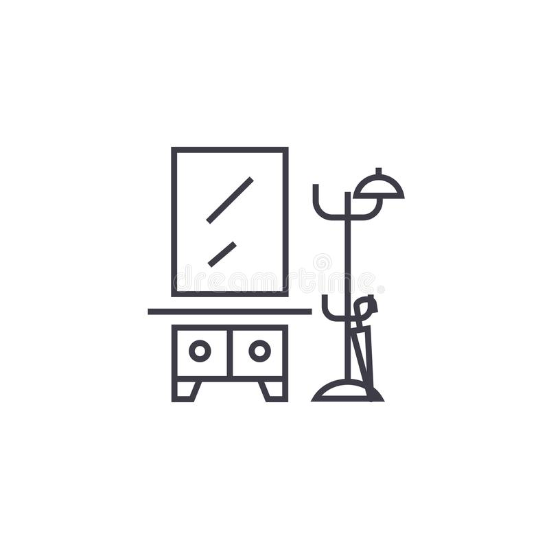 Vestíbulo, estante de la ropa con una línea icono, muestra, ejemplo del vector del espejo en el fondo, movimientos editable libre illustration
