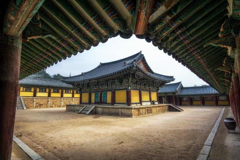 Vestíbulos de Geukrakjeon en templo del bulguksa imágenes de archivo libres de regalías
