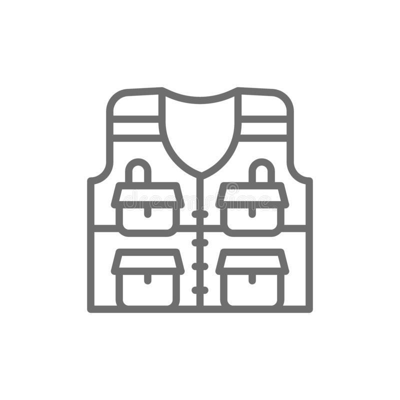 Vest with pockets, fishing jacket line icon. vector illustration