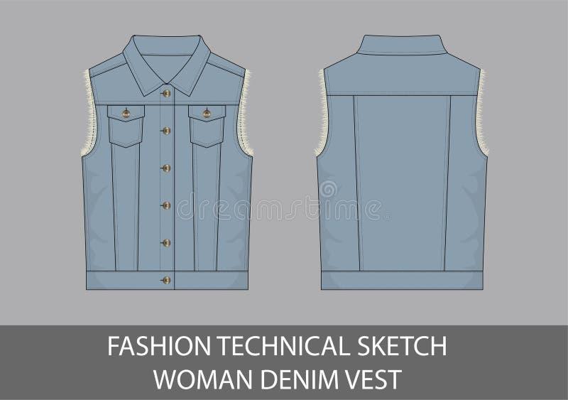 Vest van het de vrouwendenim van de manier het technische schets vector illustratie