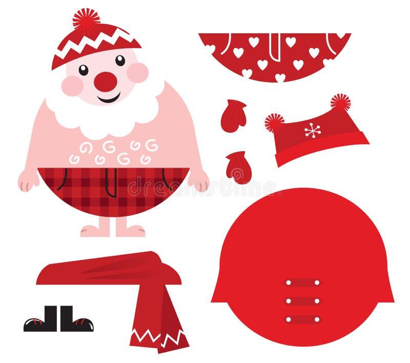 Vesta in su la vostra Santa! Retro icone di natale. royalty illustrazione gratis