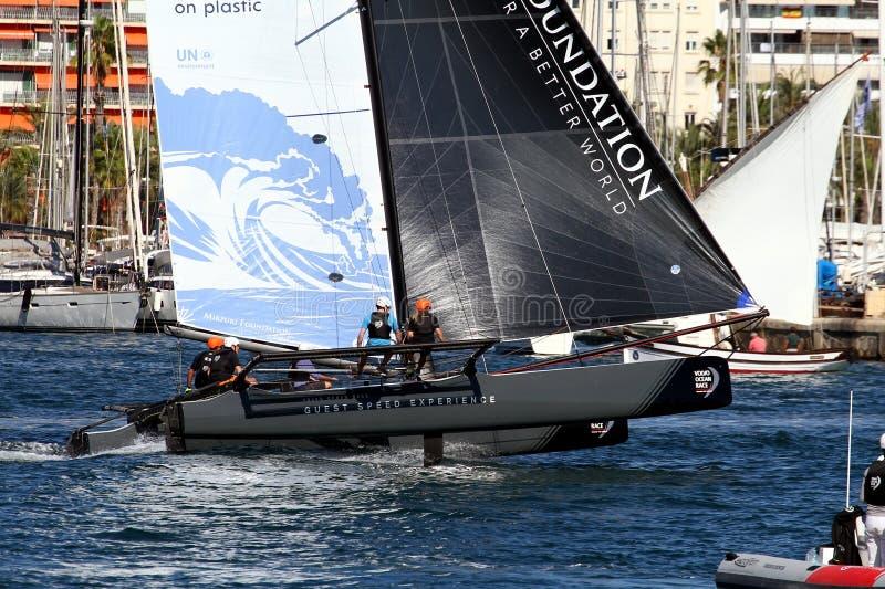 Vestas Team of ProAM 32 catamarans training. stock image