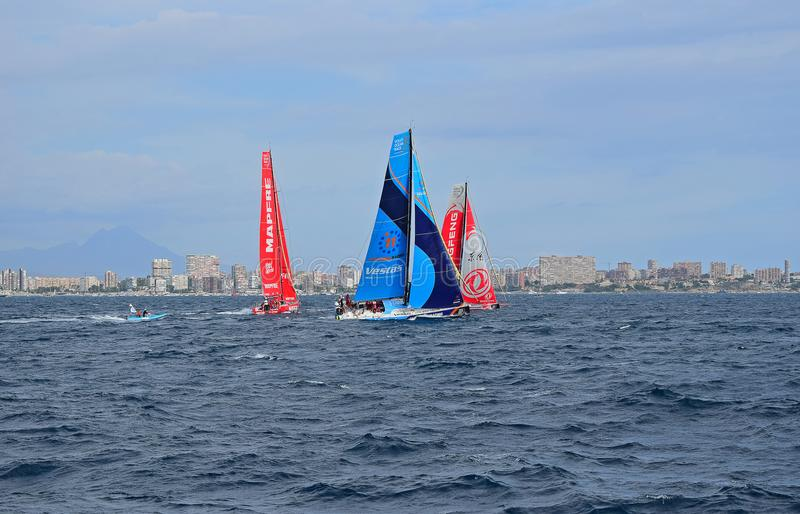 Vestas 11th Hour, Dongfeng And Mapfre Volvo Ocean Race Alicante 2017 stock photo
