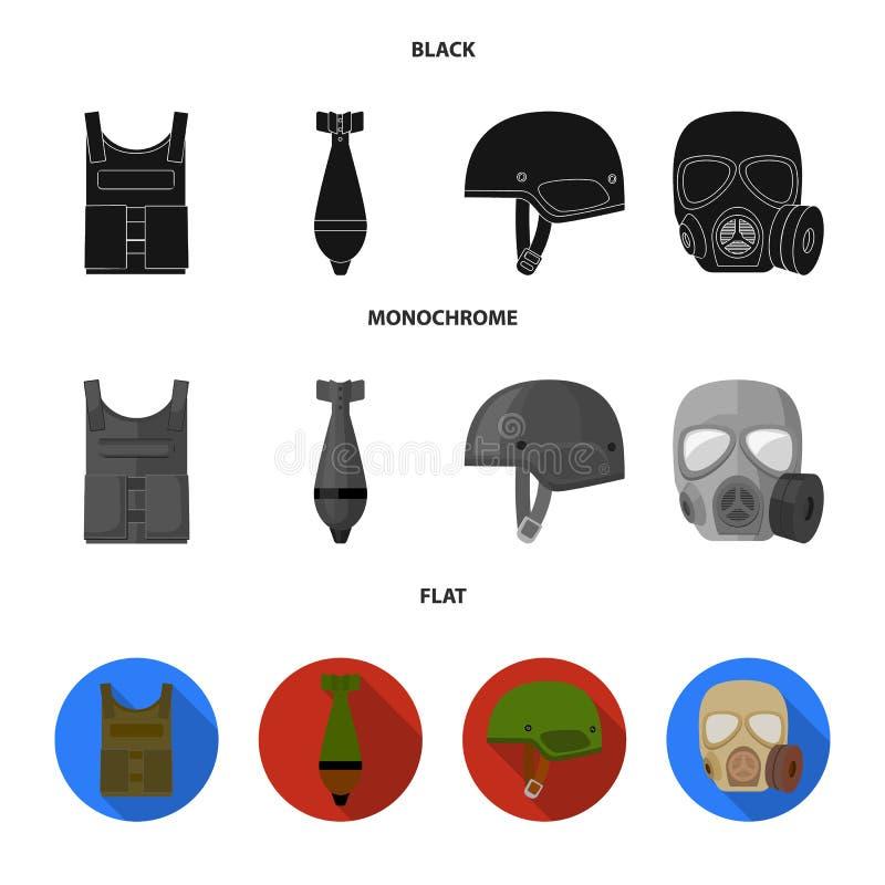 Veste à prova de balas, mina, capacete, máscara de gás Ícones ajustados das forças armadas e da coleção do exército no estilo pre ilustração royalty free