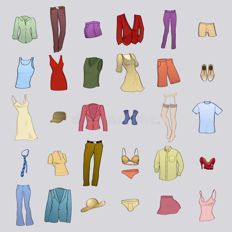 Veste ícones ilustração stock