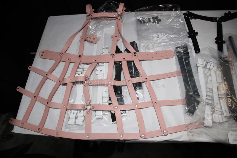 Veste de bastidores para o desfile de moda de Philipp Plein fotografia de stock