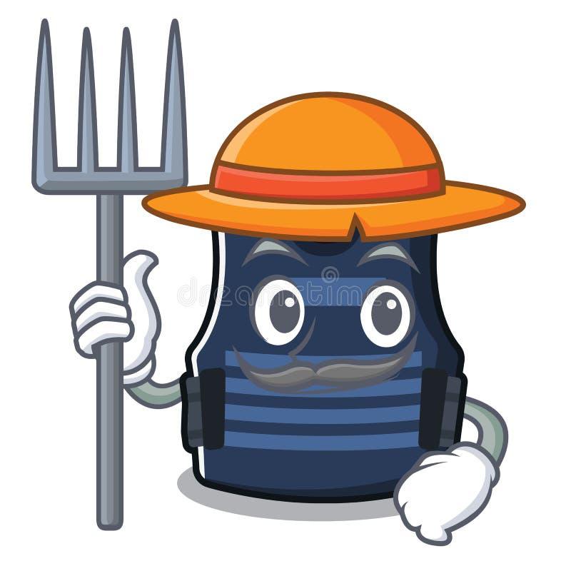 Veste do bulletprof do fazendeiro isolada na mascote ilustração stock