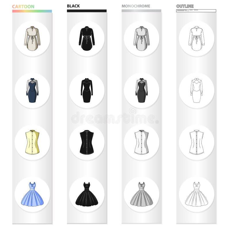 Veste do ` s das mulheres, vestido de noite, roupa da veste, vestido de bola Ícones ajustados da coleção da roupa do ` s das mulh ilustração do vetor