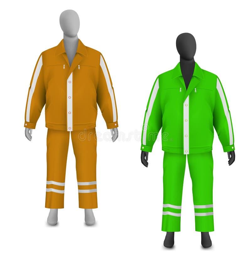 Veste et pantalon de sécurité réglés sur le mannequin illustration libre de droits