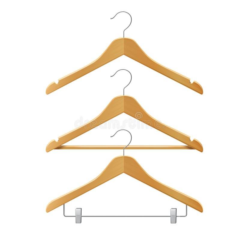 Veste ganchos de madeira ilustração do vetor