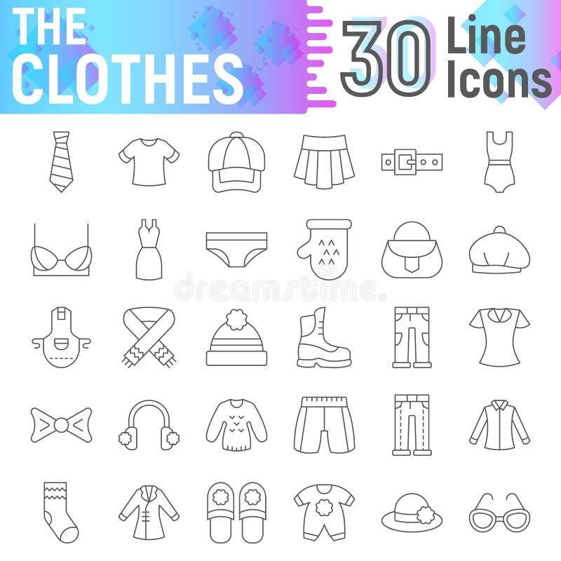 Veste a linha fina grupo do ícone, símbolos coleção de pano, esboços do vetor, ilustrações do logotipo, sinais do fato ilustração stock