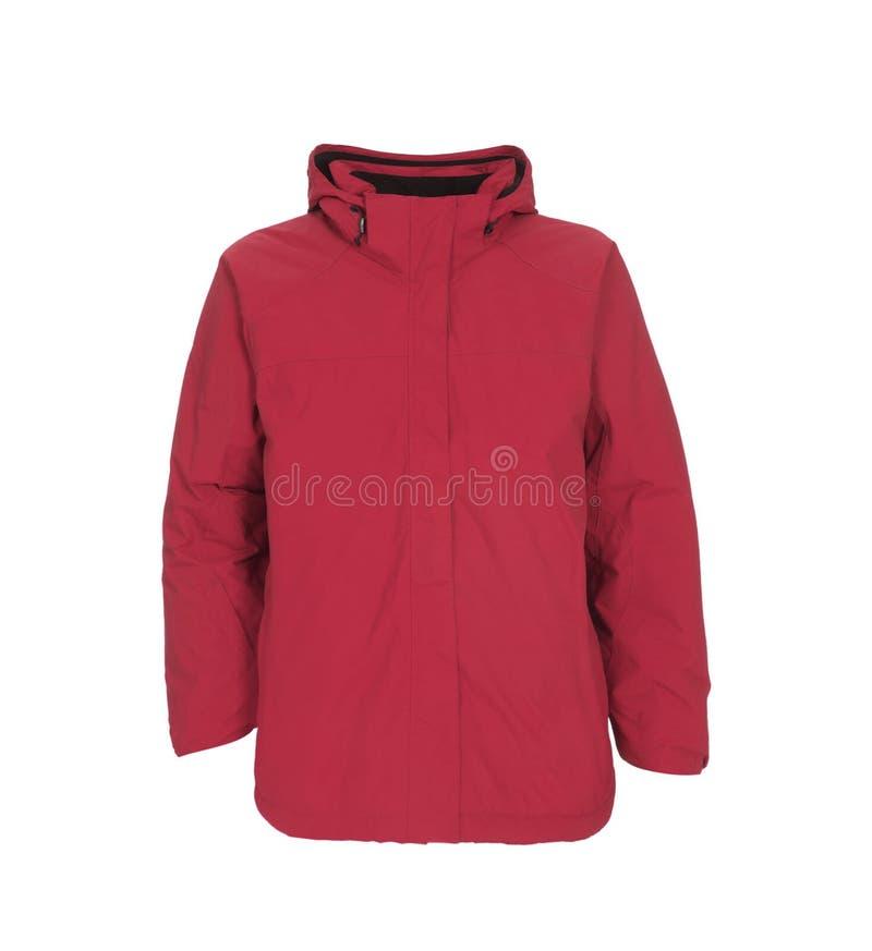 Veste masculine rouge d'hiver d'isolement sur le blanc photos libres de droits