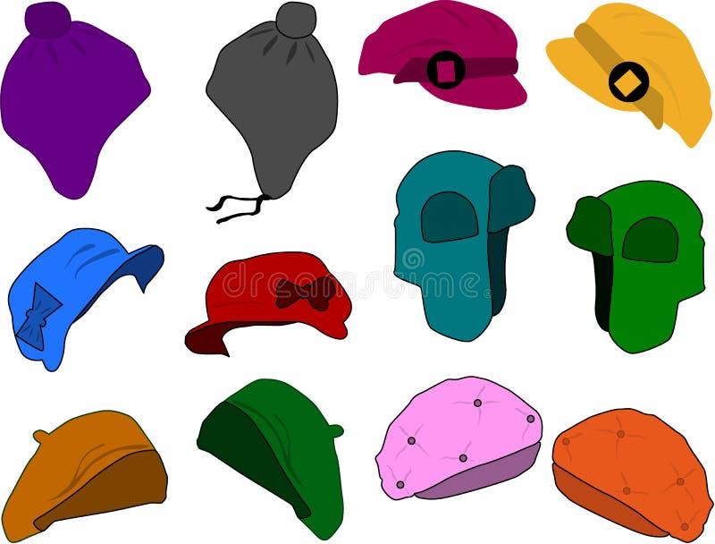 Vestendo una donna - cappelli illustrazione vettoriale