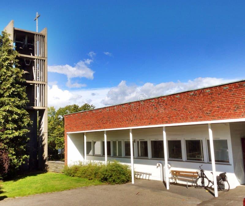 Vesterøy教会在桑德尔福德挪威 库存图片