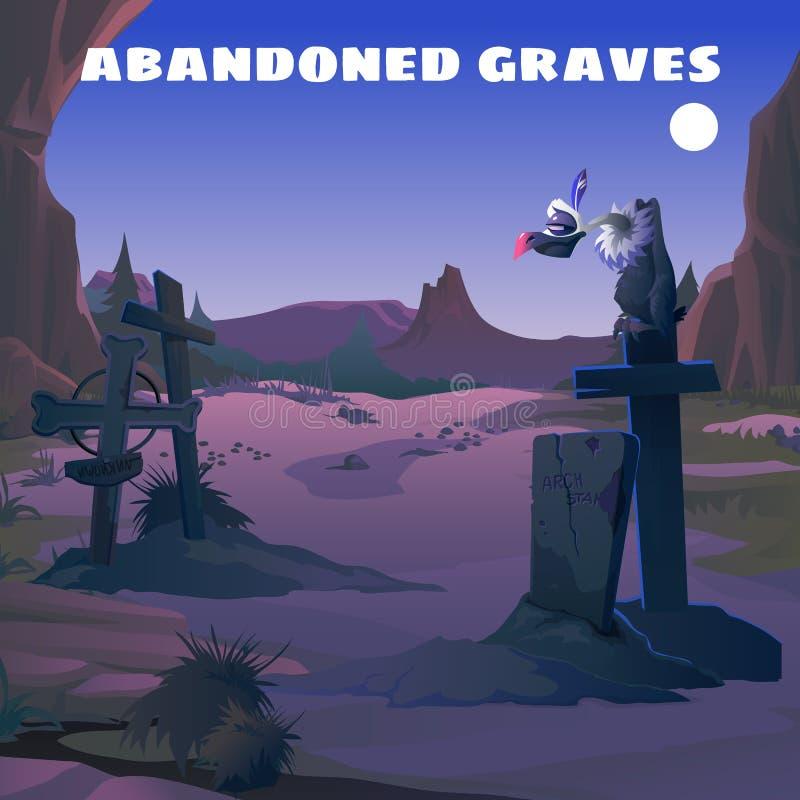 Vestern, vautour dans un cimetière abandonné la nuit illustration stock