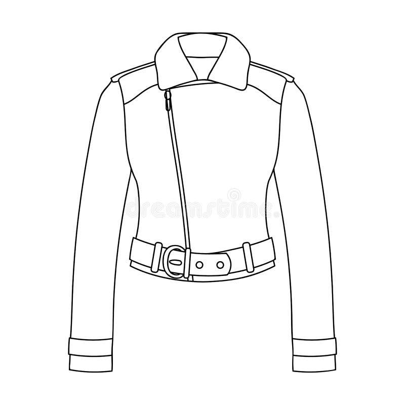 Vestes en cuir de short vert de la jeunesse pour les femmes sûres Icône simple d'habillement de femmes en stock de symbole de vec illustration libre de droits