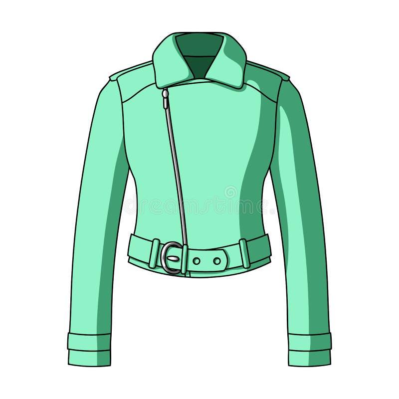 Vestes en cuir de short vert de la jeunesse pour les femmes sûres Icône simple d'habillement de femmes en stock de symbole de vec illustration stock
