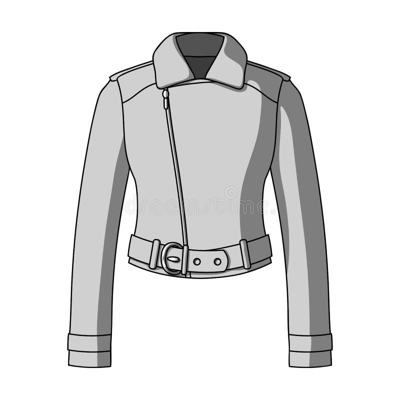 Vestes en cuir de short vert de la jeunesse pour les femmes sûres Icône simple d'habillement de femmes en stock monochrome de sym illustration de vecteur