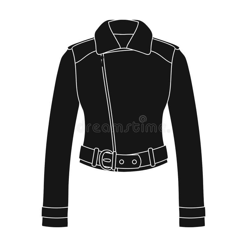 Vestes en cuir de short vert de la jeunesse pour les femmes sûres Icône simple d'habillement de femmes en stock noir de symbole d illustration libre de droits
