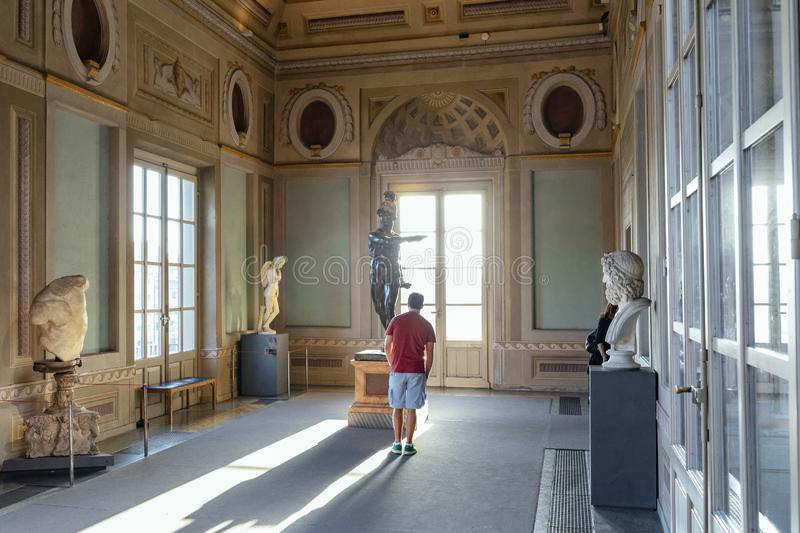 Uffizi Gallery vestibolo hall view in Firenze, Italy. The `Vestibolo`, one of the rooms of the Uffizi Gallery, in Firenze, Italy. The Uffizi has one of the royalty free stock photo