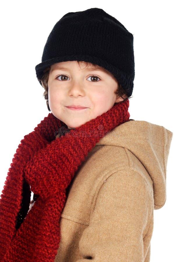 Vestido adorável do menino para o inverno imagem de stock royalty free