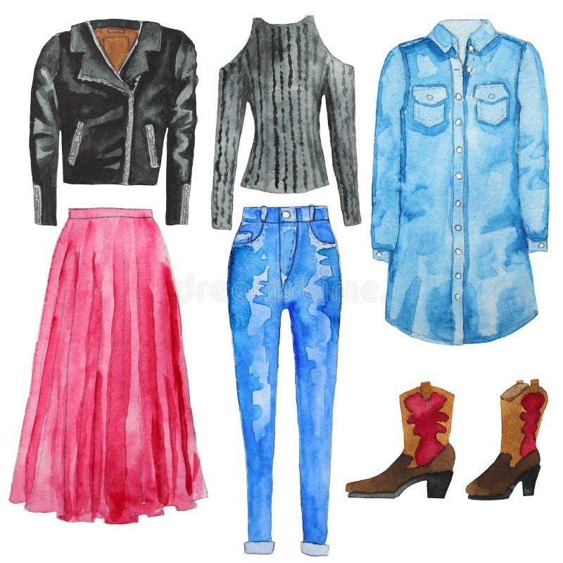 Vestido azul de la camisa Pantalones vaqueros Vaqueros de la cintura alta Chaqueta negra del motorista Falda rosada Cargadores de stock de ilustración