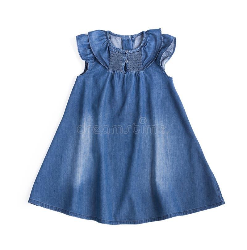 Vestido azul del algodón de los vaqueros fotos de archivo