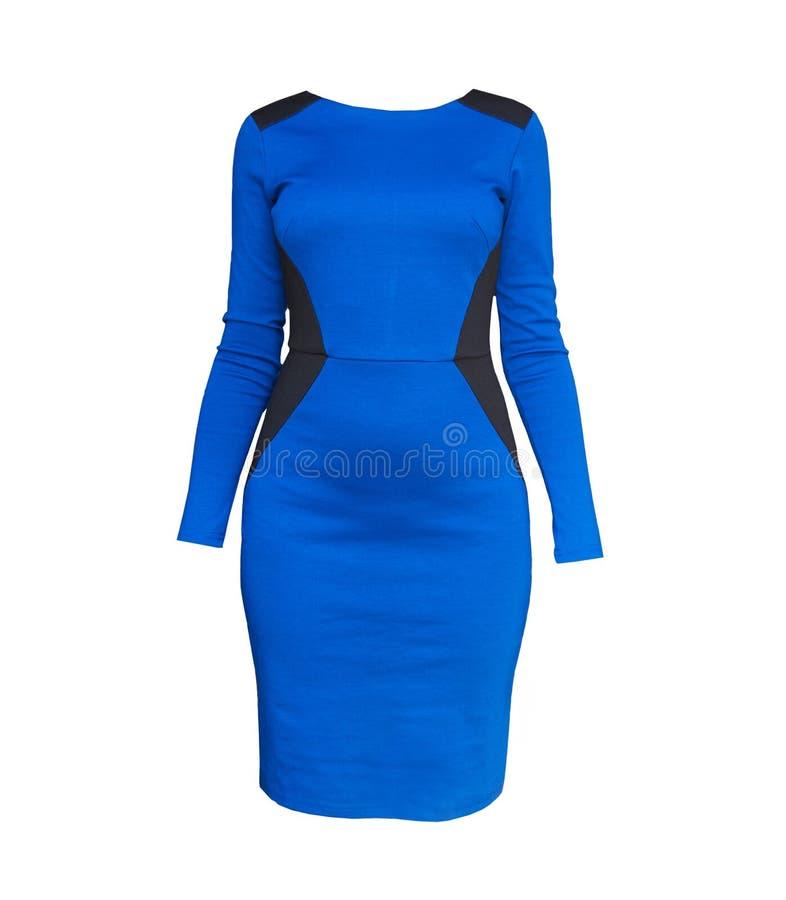 Vestido azul elegante do encaixe do formulário isolado sobre o branco foto de stock