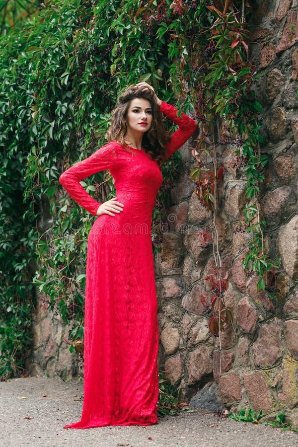 Vestido bonito da jovem mulher fotos de stock