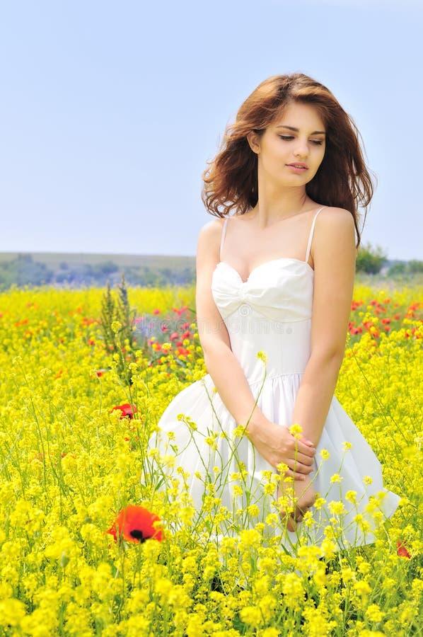 Vestido branco desgastando da menina no campo foto de stock royalty free
