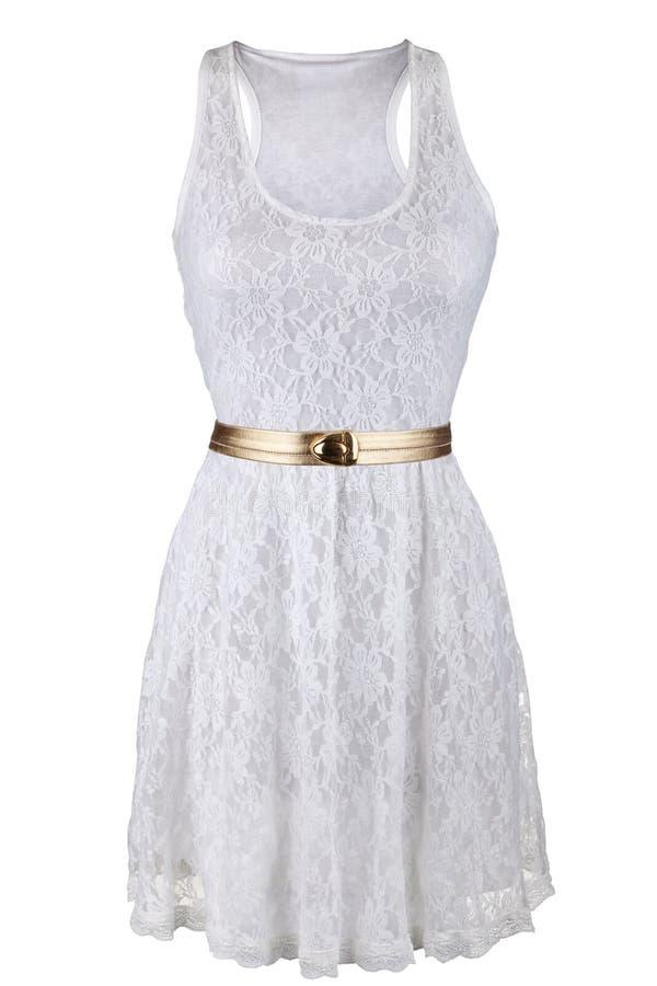 Vestido branco do laço com correia dourada foto de stock royalty free