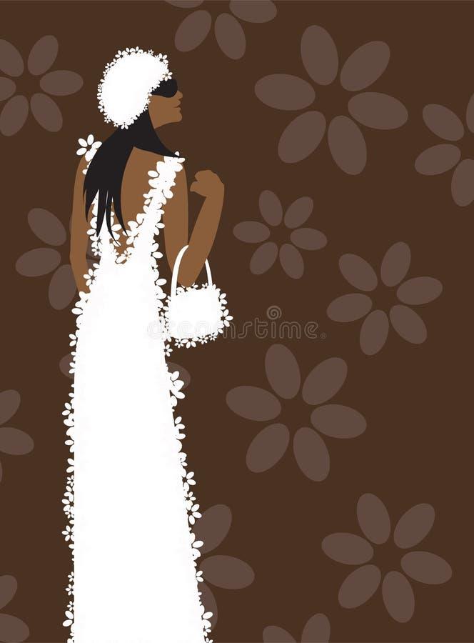 Vestido branco, mulher da forma ilustração do vetor