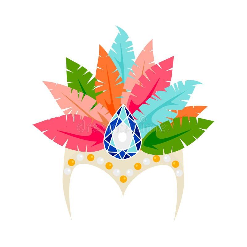 Vestido colorido da cabeça do carnaval do vetor ilustração royalty free